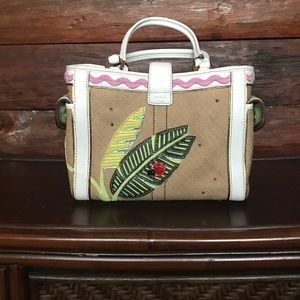 Coach tote with ladybugs and tropical leaves